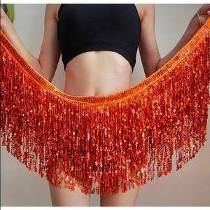 Sequin Sparkle Fringe Festival Rave Costume Skirt